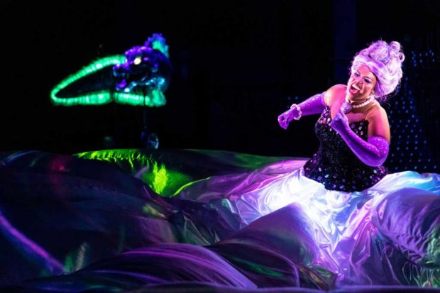 Hong Kong Disneyland - Halloween - Ursula's colossal dress covers the entire stage and mimics underwater movement.