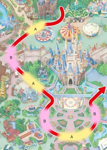 Locations where the parade pauses (concept image)