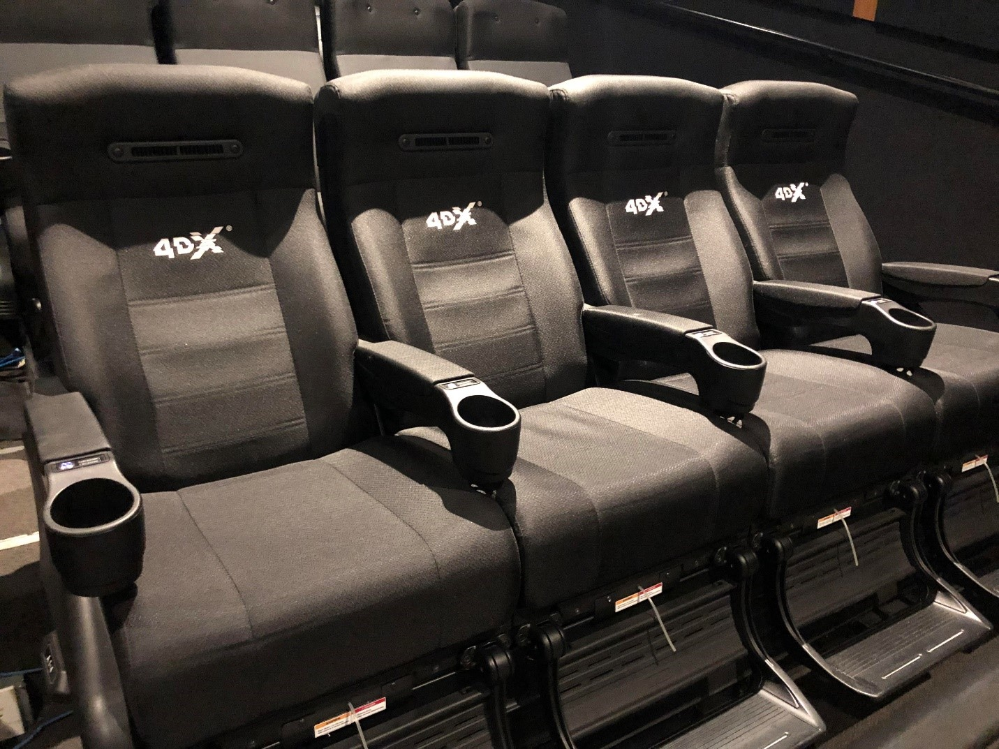 The 4DX experience features motion enabled chairs with added effects like wind and water.