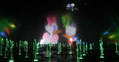 """The Disneyland Resort transforms into the Merriest Place on Earth for the holiday season, Nov. 8, 2019, through Jan. 6, 2020. Among the merriment at Disney California Adventure Park, guests will be dazzled by the return of """"World of Color – Season of Light,"""" a holiday-themed production of this nighttime spectacular that features lights, lasers, water, fire and hundreds of fountains bringing animation to life. (Joshua Sudock/Disneyland Resort)"""