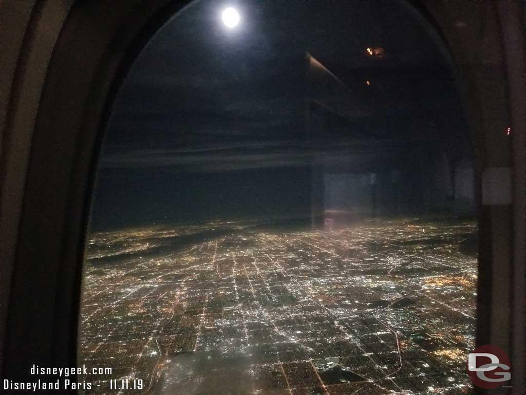 The moon over Los Angeles as we climbed out of the LA area.