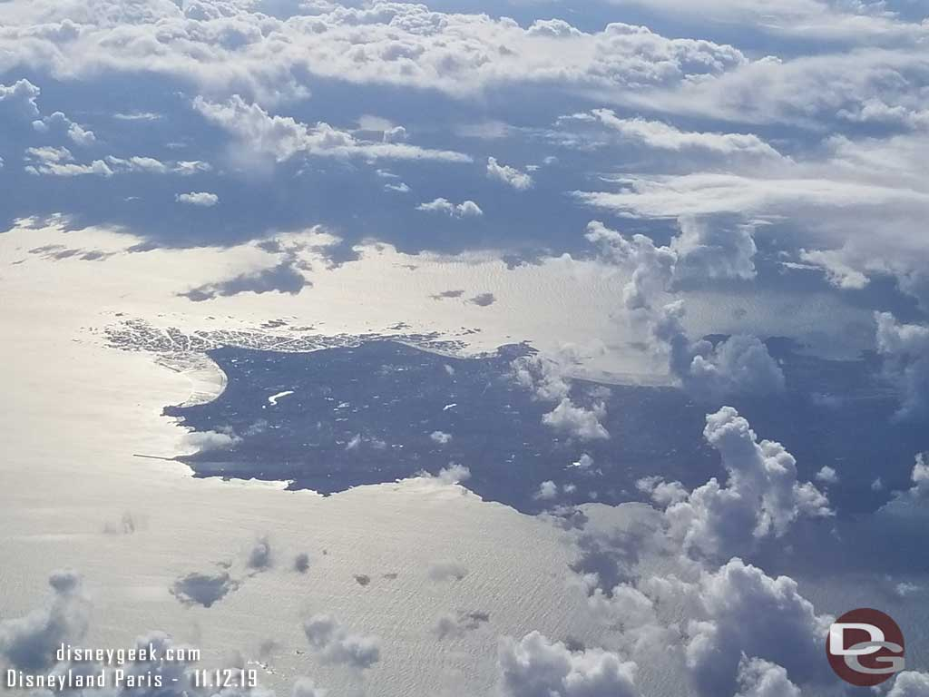 We flew over the northern coast of France.