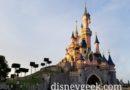 Sleeping Beauty Castle Disneyland Paris as the sun is setting