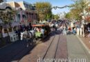 Passing a horse drawn street car at Disneyland