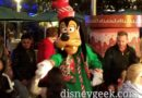 Goofy at the Holiday Dance Party in Tomorrowland