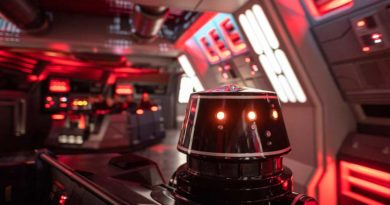 First Order R5-series astromech droids pilot troop transports onboard a Star Destroyer in Star Wars: Rise of the Resistance, the groundbreaking new attraction opening Dec. 5, 2019, inside Star Wars: Galaxy's Edge at Disney's Hollywood Studios in Florida and Jan. 17, 2020, at Disneyland Park in California that takes guests into a climactic battle between the Resistance and the First Order. (Kent Phillips, photographer)