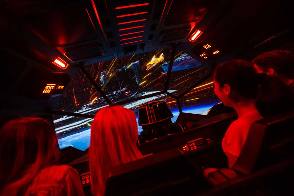 Guests board a First Order Short-Range Evacuation Vehicle – otherwise known as an escape pod – in Star Wars: Rise of the Resistance, in Star Wars: Rise of the Resistance, the groundbreaking new attraction opening Dec. 5, 2019, inside Star Wars: Galaxy's Edge at Disney's Hollywood Studios in Florida and Jan. 17, 2020, at Disneyland Park in California. (Steven Diaz, photographer)