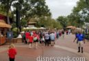 Epcot Opens at 9am, International Gateway Guests queued up by Canada