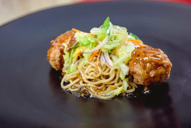 Lo mein noodles dish with chicken meatball, cabbage salad and apple ginger slaw (David/Nguyen Disneyland Resort)