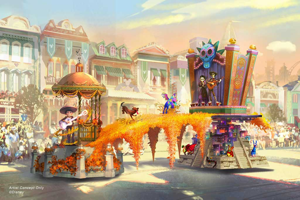 "Depicted in this image, Miguel appears in person for the first time, celebrating the magic that happens when he strums the guitar of Ernesto de la Cruz in the Disney and Pixar film ""Coco."" This spectacular float connects the Land of the Living and the Land of the Dead with a vibrant marigold bridge, and fantastical alebrije spirit animals join the procession, along with Miguel's dog Danté. (Disney)"