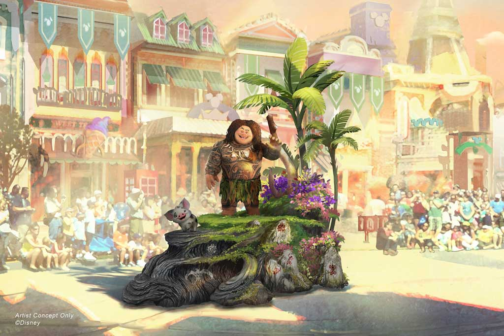 Depicted in this image, guiding Moana on her journey is Maui, who travels along on his own magical piece of the islands with Moana's adorable pet pig, Pua. (Disney)