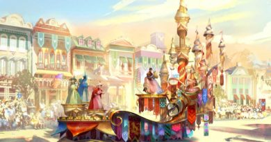 """Depicted in this image, the regal grand finale of """"Magic Happens"""" celebrates magical moments from several classic Disney stories, including the happily-ever-after scene from """"Sleeping Beauty"""" with a trio of fairies and Princess Aurora's gown shimmering between hues of pink and blue. (Disney)"""