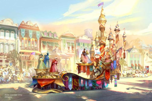 "Depicted in this image, the regal grand finale of ""Magic Happens"" celebrates magical moments from several classic Disney stories, including the happily-ever-after scene from ""Sleeping Beauty"" with a trio of fairies and Princess Aurora's gown shimmering between hues of pink and blue. (Disney)"