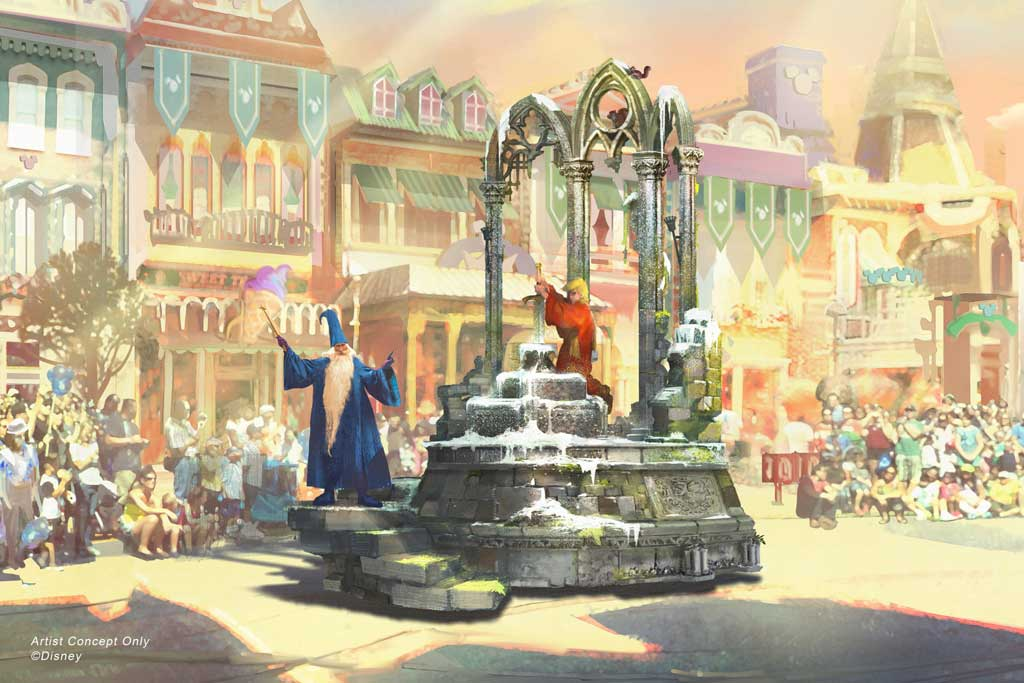 """Depicted in this image, Merlin from """"The Sword in the Stone"""" wisely leads the way for young Arthur, who finds the magic within himself as he pulls the sword from the stone, claiming his place upon the throne. (Disney)"""