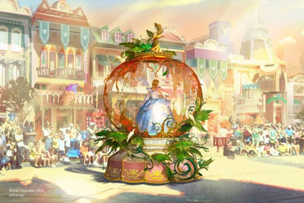 Depicted in this image, Cinderella is seen inside a grand pumpkin, just as it magically transforms into a glistening carriage to whisk her off to the ball. (Disney)
