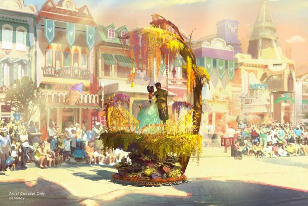 "Depicted in this image, Tiana and Naveen from ""The Princess and the Frog"" are seen amidst a swirl of golden flowers where they share a kiss, completing their transformation back into human forms. (Disney)"
