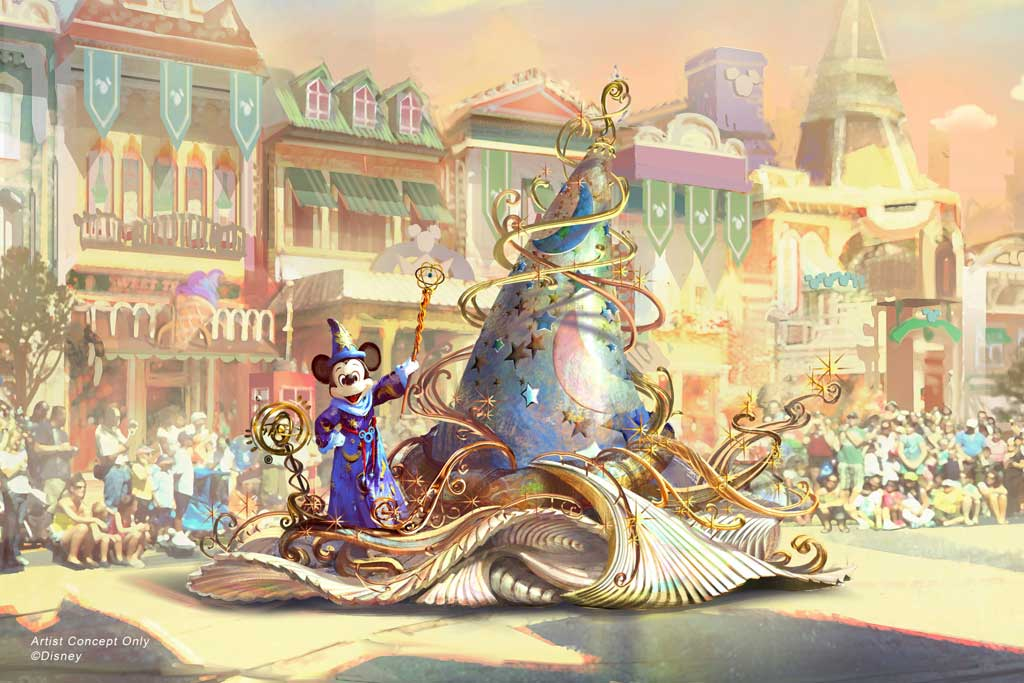 "Set to debut Feb. 28, 2020, at Disneyland Park in California, the new ""Magic Happens"" parade will celebrate the awe-inspiring moments of magic that are at the heart of so many Disney stories. This new daytime spectacular will feature stunning floats, beautiful costumes, and beloved Disney characters. Mickey Mouse leads the way, gliding along on glistening swirls of magic emanating from a giant, iridescent magical hat. (Disney)"