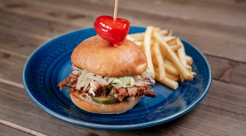 Brisket slider – shredded, smoked BBQ brisket piled on slider buns with apple slaw and pickle, served with french fries.