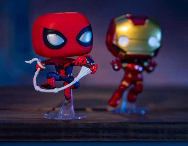 Disneyland Resort-exclusive Funko Pop! vinyl figurines, including Spider-Man with Spider-Bots that have run amuck throughout Avengers Campus (left) and Iron Man. (David Roark/Disneyland Resort)