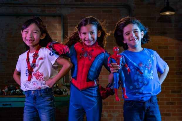 Young recruits who are looking to gear up for Super Hero training will find a variety of apparel items featuring the friendly neighborhood Spider-Man at WEB Suppliers inside Avengers Campus at Disney California Adventure Park in Anaheim, California. The kid's Spider-Man costume (center) is exclusive to Avengers Campus. (David Roark/Disneyland Resort)