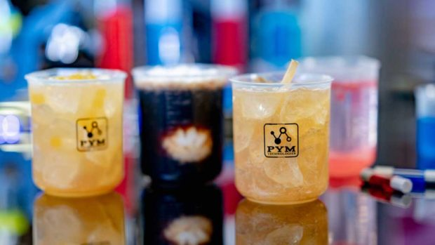 From left to right, alcoholic beverages: X-Periment, Molecular Meltdown, Honey Buzz and Particle Fizz (David Nguyen/Disneyland Resort)
