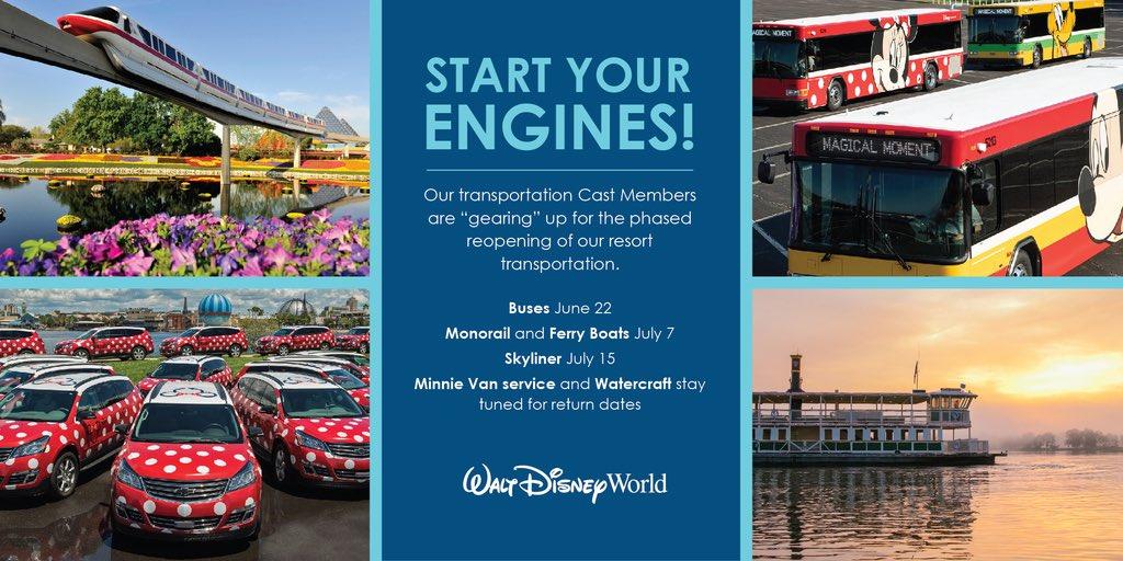 Walt Disney World Transportation Re-opening schedule