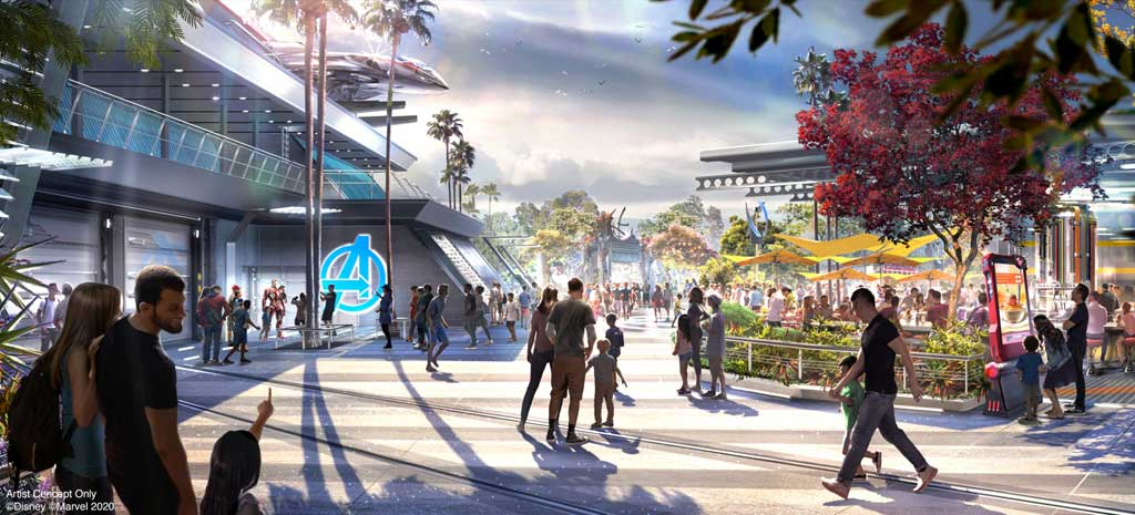 Avengers Campus is an entirely new land dedicated to discovering, recruiting and training the next generation of heroes, opening July 18, 2020, at Disney California Adventure Park in Anaheim, California. To the right of the image, the outdoor seating area at Pym Test Kitchen is a great place to fuel up and watch for Super Heroes at the nearby Avengers Headquarters. (Disneyland Resort)