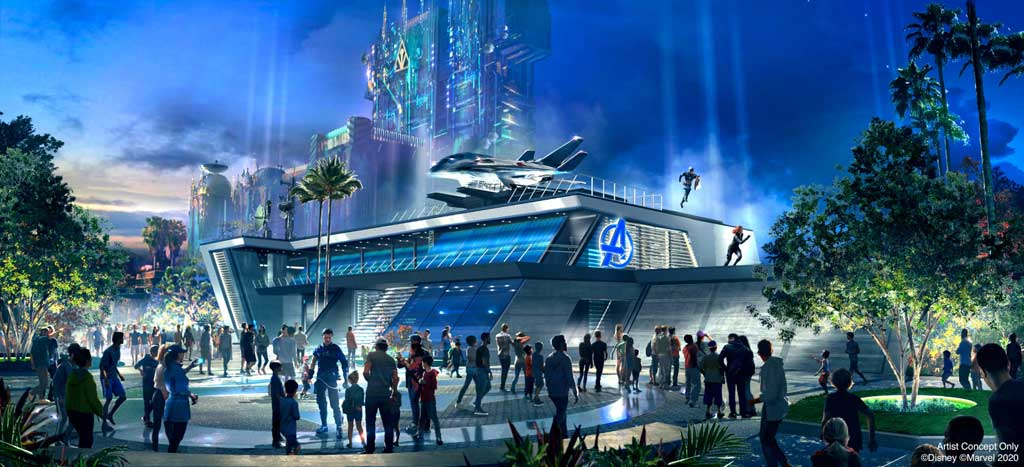 Throughout the day at Avengers Headquarters at Avengers Campus inside Disney California Adventure Park in Anaheim, California, recruits may encounter epic, live-action moments with Avengers heading off the threat of their foes. The Avengers Headquarters is the heart of the land and features the iconic Quinjet stealth aircraft. Avengers Campus opens July 18, 2020. (Disneyland Resort)