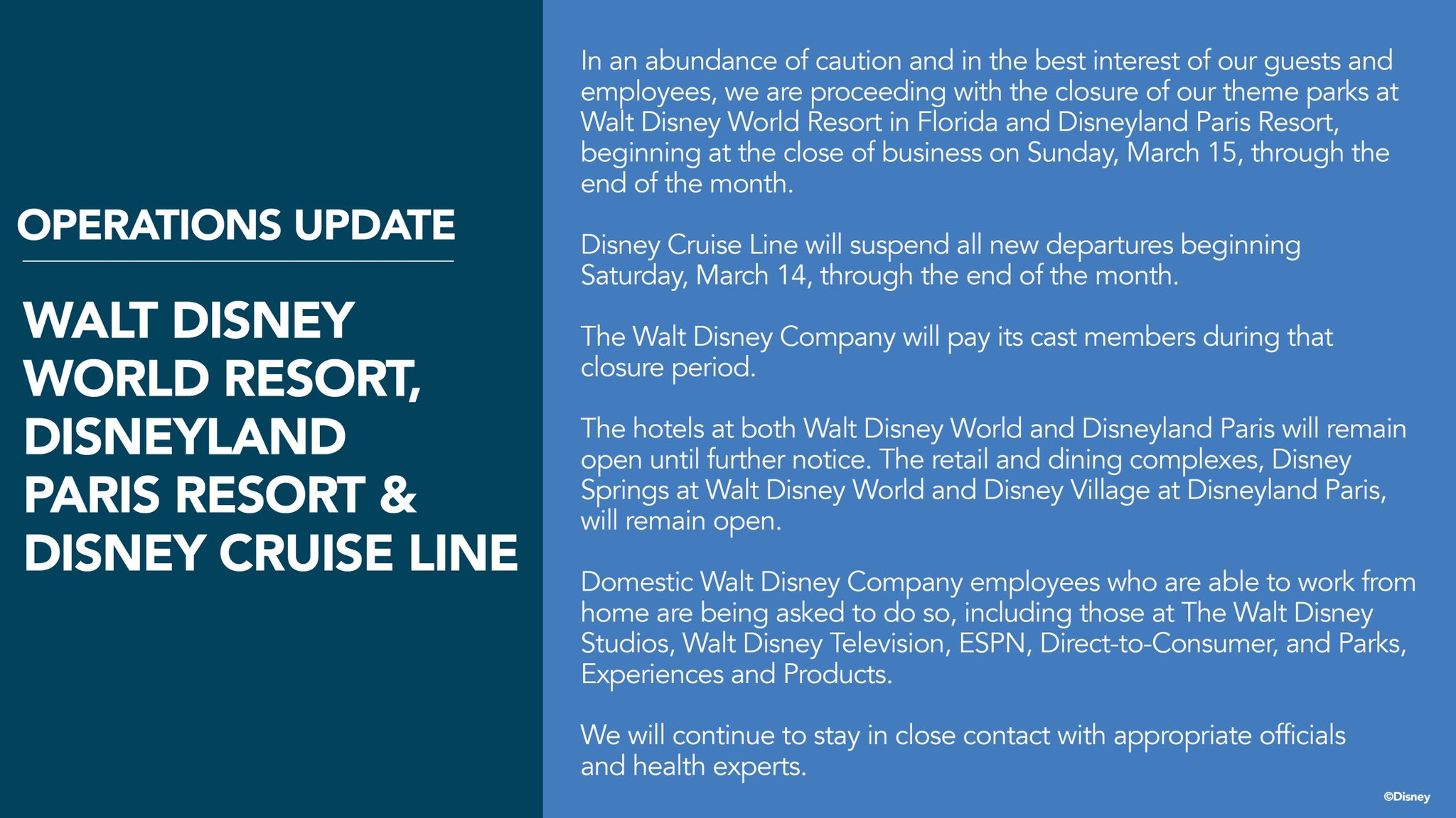 Official Disney Statement on Closure