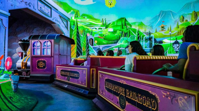 "Guests board Runnamuck Railroad and journey into Runnamuck Park as part of Mickey & Minnie's Runaway Railway, opening March 4, 2020, in Disney's Hollywood Studios at Walt Disney World Resort in Lake Buena Vista, Fla. The first ride-through attraction in Disney history featuring Mickey Mouse and Minnie Mouse brings guests into the vibrant world of ""Mickey Mouse"" cartoon shorts. (Matt Stroshane, photographer)"