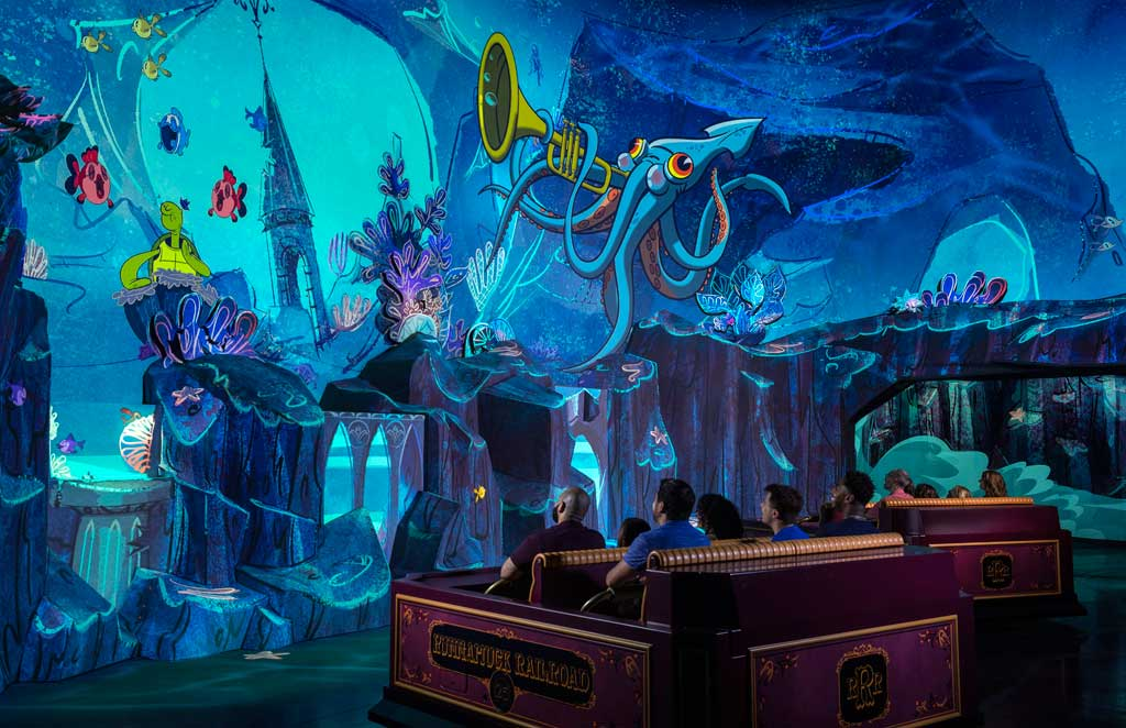 "Guests travel underwater as part of their journey through the vibrant world of ""Mickey Mouse"" cartoon shorts in Mickey & Minnie's Runaway Railway, the family friendly new attraction opening March 4, 2020, in Disney's Hollywood Studios at Walt Disney World Resort in Lake Buena Vista, Fla. (Kent Phillips, photographer)"