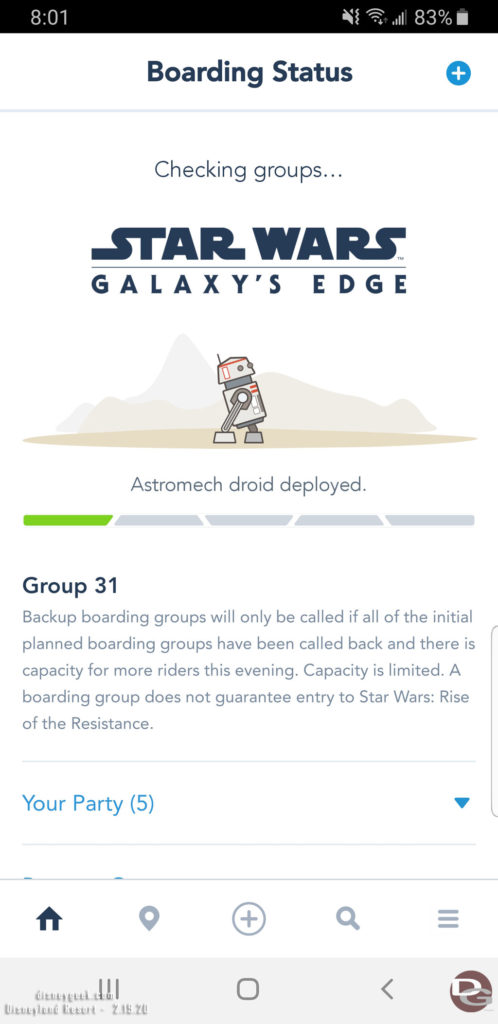 Disneyland Star Wars: Rise of the Resistance Boarding Group Status Screen