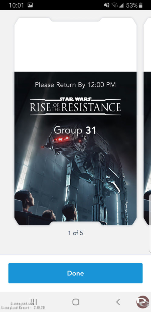 Disneyland Star Wars: Rise of the Resistance Boarding Group: Boarding Ticket