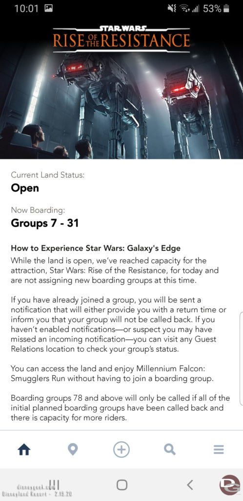 Disneyland Star Wars: Rise of the Resistance Boarding Group: Boarding Group Status