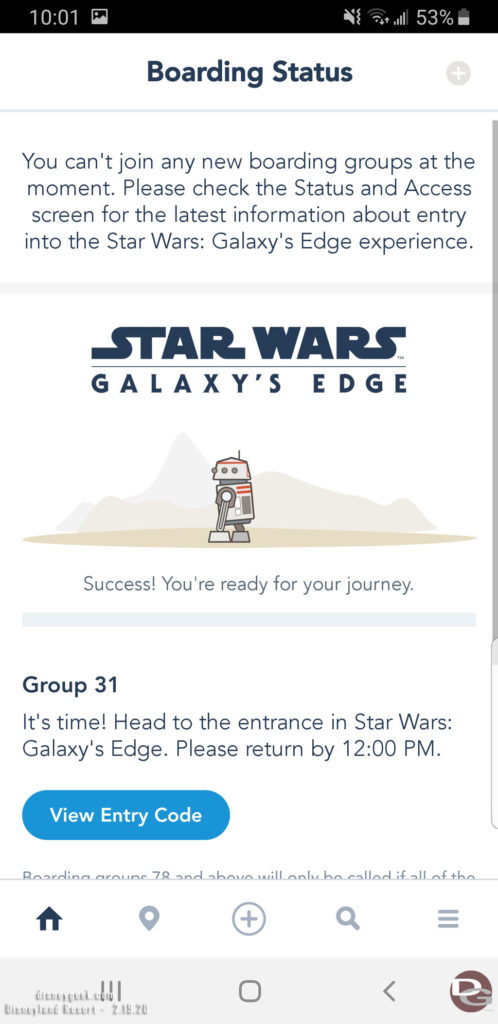 Disneyland Star Wars: Rise of the Resistance Boarding Group: Boarding Group Called