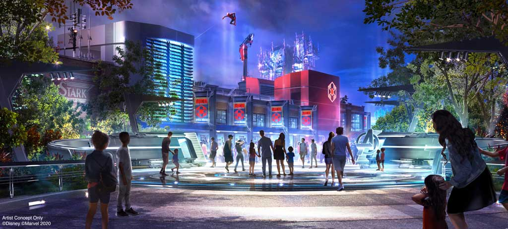 Avengers Campus is an entirely new land dedicated to discovering, recruiting and training the next generation of heroes, opening July 18, 2020, at Disney California Adventure Park in Anaheim, California. Guests have the chance to witness Spider-Man swinging into action high above Avengers Campus with gravity-defying, acrobatic feats never seen before in a Disney theme park. (Disneyland Resort)