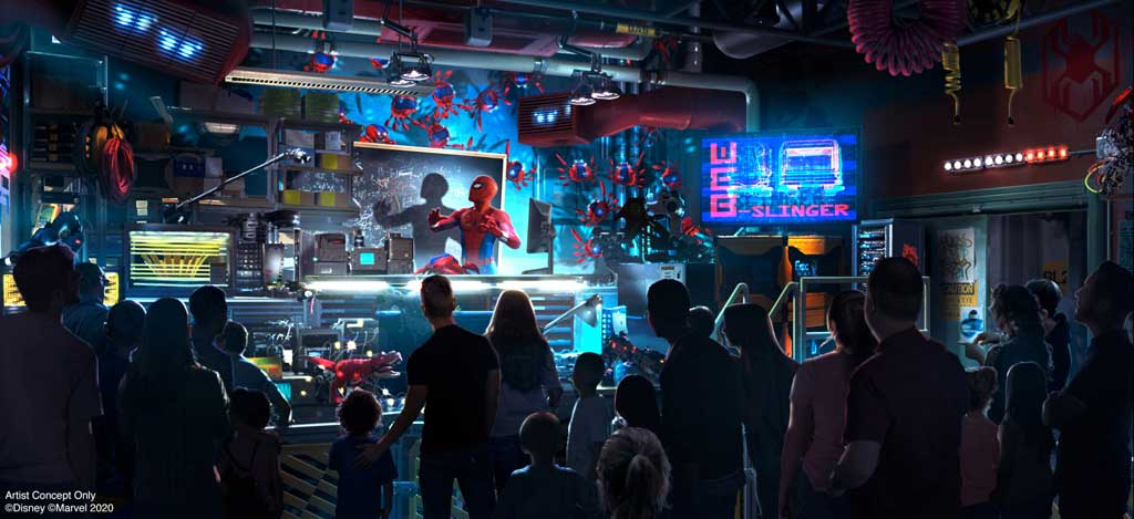 WEB SLINGERS: A Spider-Man Adventure in Avengers Campus inside Disney California Adventure Park in Anaheim, California, brings recruits to the Worldwide Engineering Brigade for an open house. Here, recruits team up with Spider-Man on an adventure throughout the Campus and experience what it's like to have super powers as they sling webs to capture his Spider-Bots before they wreak havoc. Avengers Campus opens July 18, 2020. (Disneyland Resort)