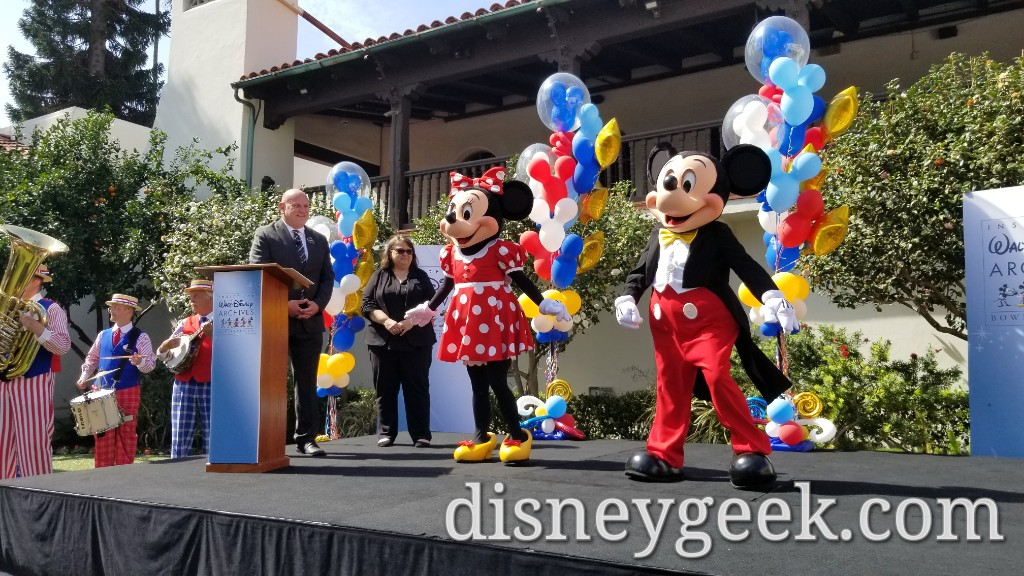 Minnie Mouse & Mickey Mouse arrive for the ribbon cutting