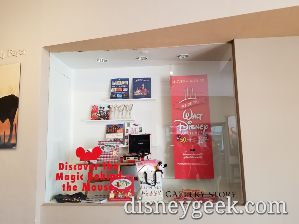 A display case in the lobby