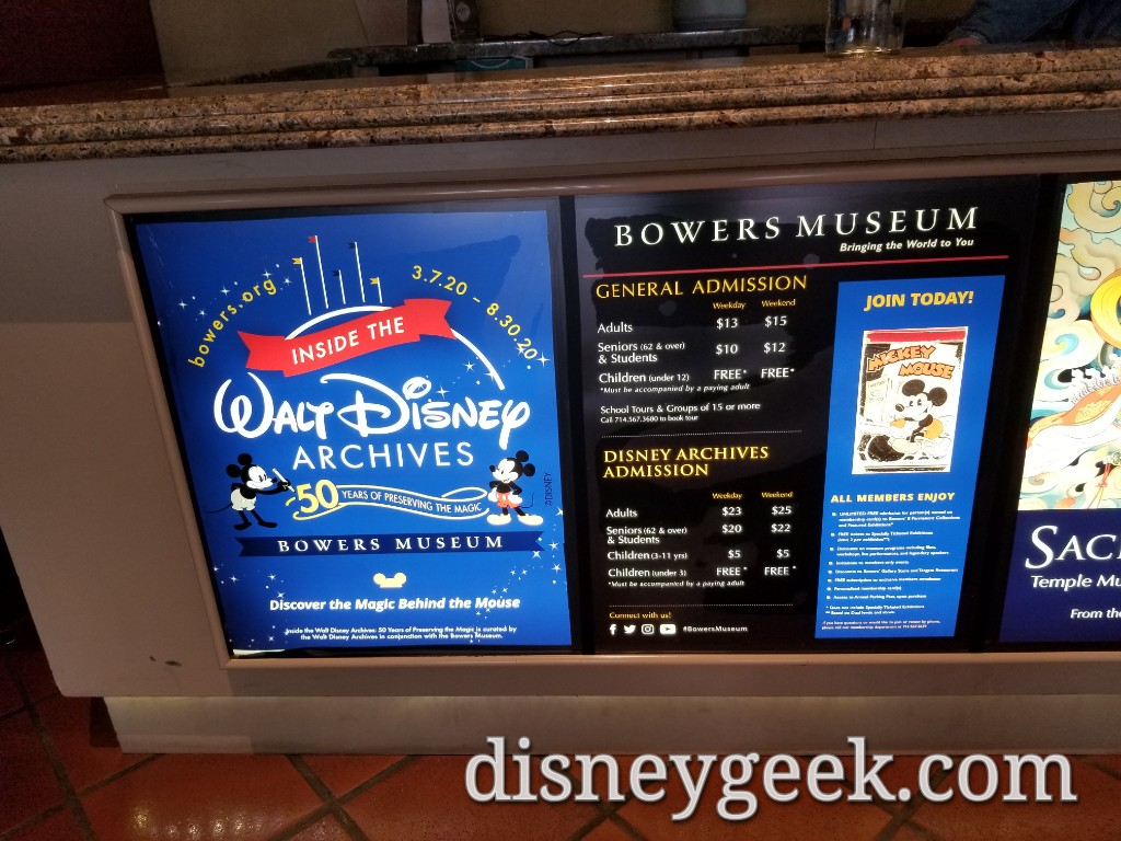 The Walt Disney Archives exhibit will run through August 30th. Here is the admission pricing information.