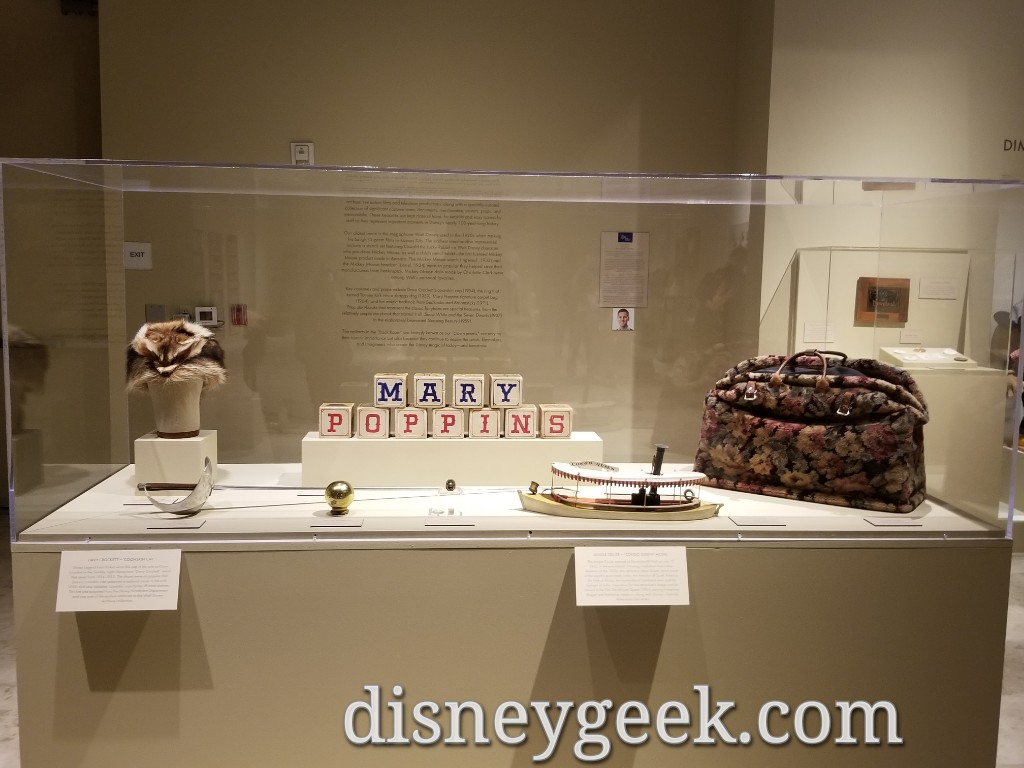 Props from several films including Davy Crockett's Coonskin Cap and blocks from Mary Poppins.