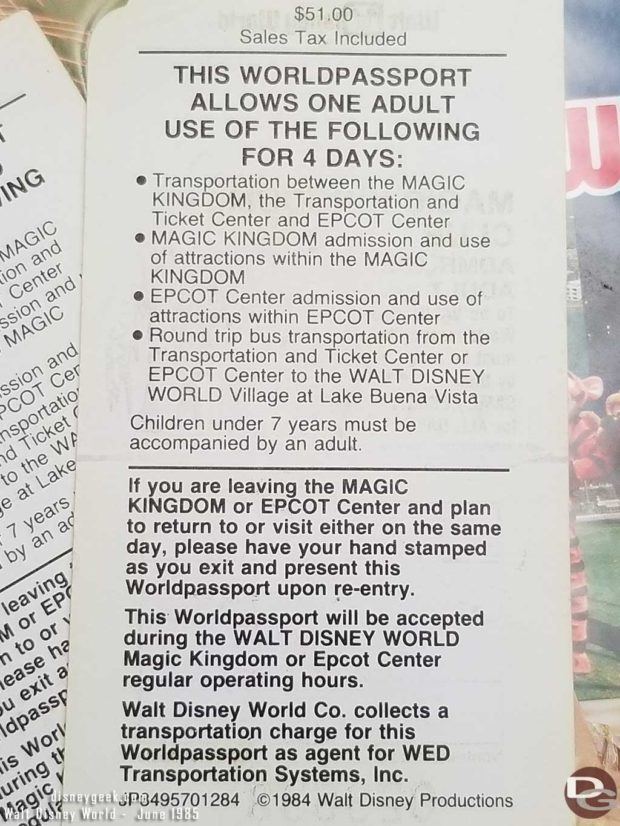 1985 - Walt Disney World - Magic Kingdom Club Ticket Back