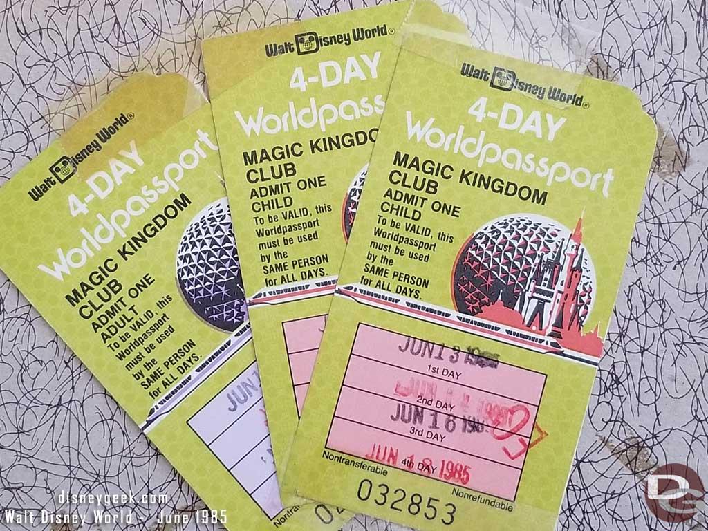 1985 - Walt Disney World - Magic Kingdom Club Tickets