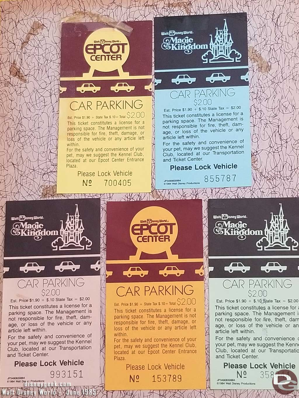 1985 WDW - Magic Kingdom & Epcot Parking Tickets