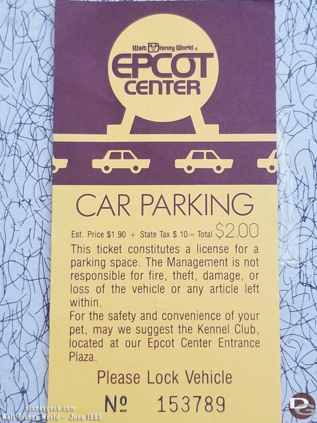 1985 WDW Epcot Parking Ticket