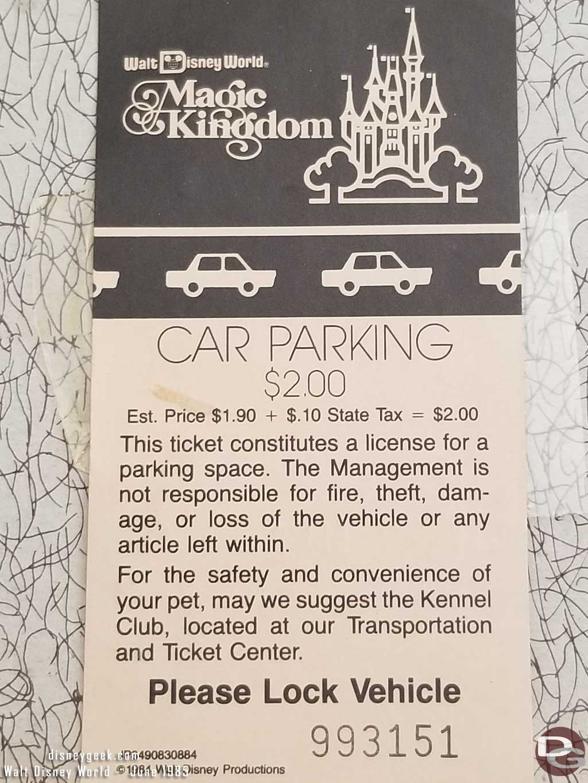 1985 WDW Magic Kingdom Parking Ticket