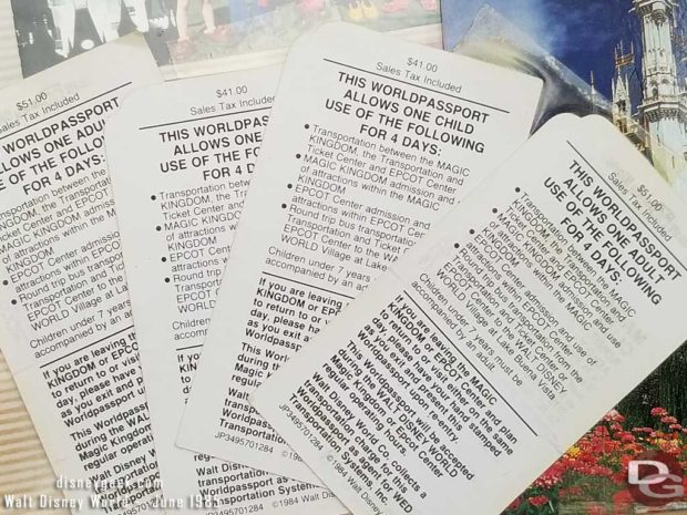 1985 - Walt Disney World - Magic Kingdom Club Ticket Backs