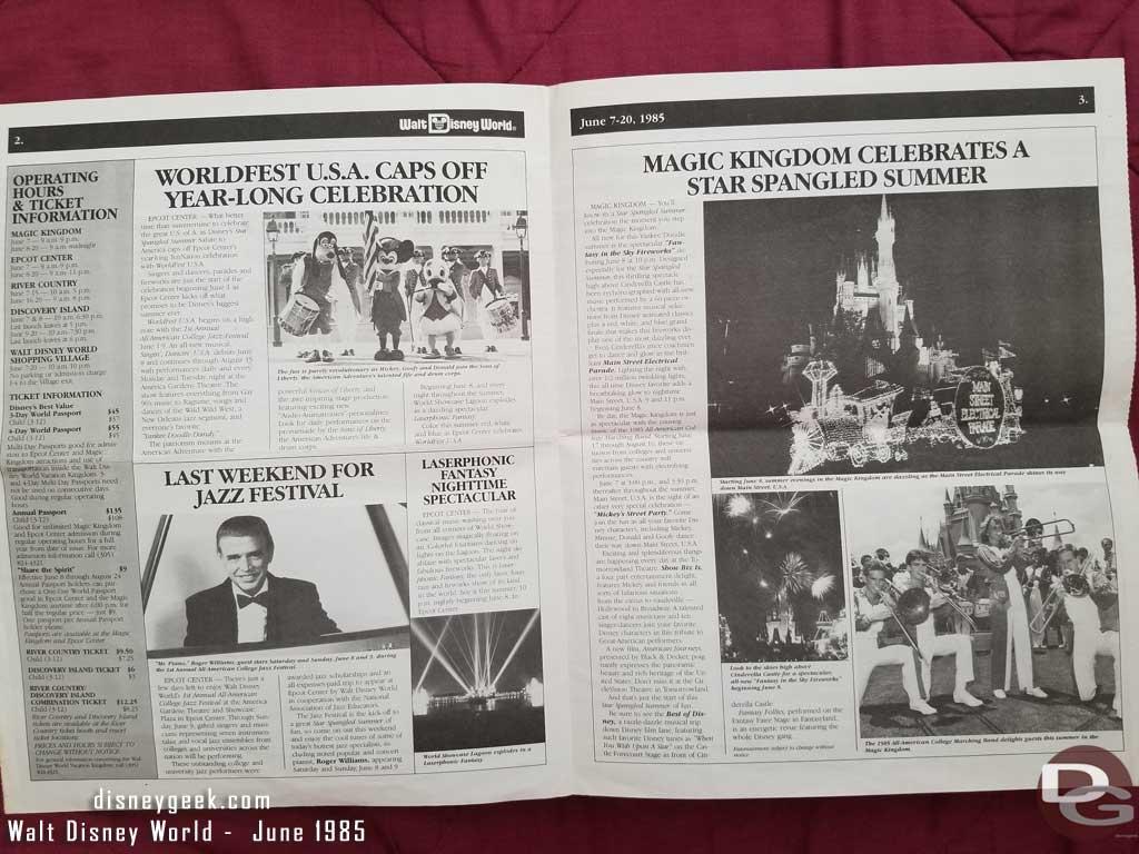 Walt Disney World News - June 7-21, 1985 Inside Spread