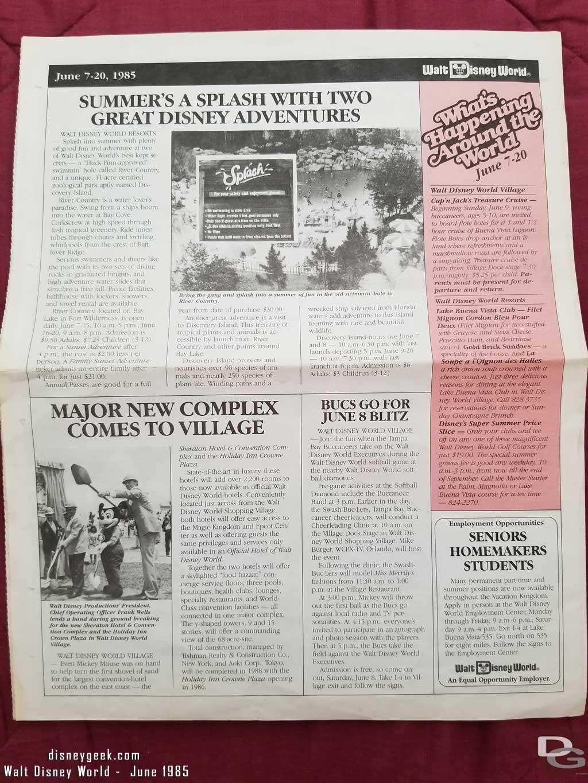 Walt Disney World News - June 7-21, 1985 Back Page