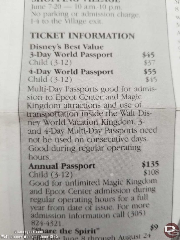1985 Walt Disney World Ticket Prices and Hours